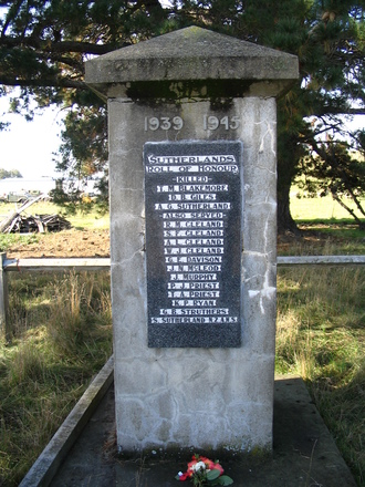 Sutherlands War Memorial, Otago listing names of those killed in action and also of those who served. Photo taken by Brian Davison, 2009. - This image may be subject to copyright