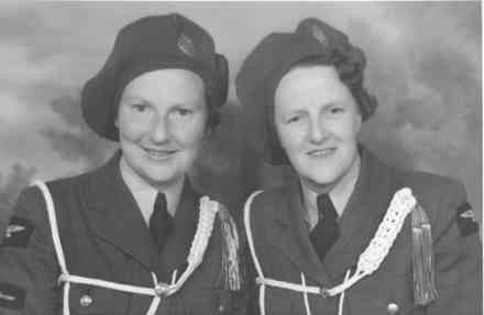Group, WW2, Servicewomen, 2 WAAFs, Ida Swanberg (W2464) on right and unidentified service woman whilst serving with the Royal New Zealand Air Force (photo supplied by Mrs Ida Strong, nee Swanberg) - This image may be subject to copyright
