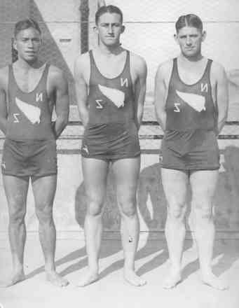 Group, 1934 Swimming Team, Empire Games 1934, held in England, in swimming togs left to right: Billy Whareatu (802301); Noel Crump, Len Smith (photo from the collection of the Crump family) - This image may be subject to copyright