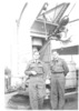 Group WW2, 2 RNZAF airmen, aboard SS Andes, October 1945, returning from the war: left to right, Flying Officer Max Collett MiD (NZ422066) (left) and Russell Clarke DFC (NZ42190) (Right) - This image may be subject to copyright