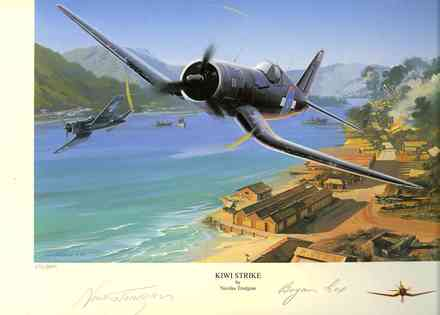 Painting by Nicolas Trudgian called 'Kiwi Strike'. Limited Edition No. 695/800 is in the Museum Library Archive. It is signed by Nicolas Trudgian and Bryan Cox. - This image may be subject to copyright