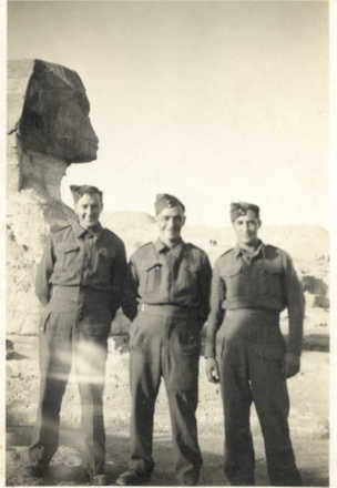 Group, 3 men in front of the sphinx Lionel Dixon is on the far right. - This image may be subject to copyright