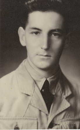 """Portrait, G. Griffiths age 19, 1944. """"Boy in a man's uniform"""". Auckland War Memorial Museum - Tāmaki Paenga Hira PH-2003-11.This image may be subject to copyright."""