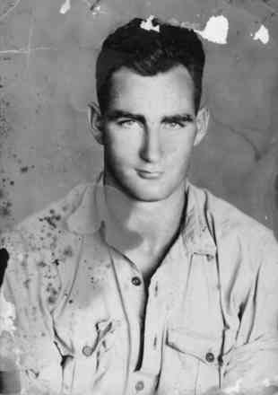 Portrait , RAF identity photo taken at Poona, March 1942 - This image may be subject to copyright