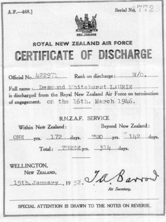 Discharge certificate, WW2 for Warrant Officer Des Laurie; - This image may be subject to copyright
