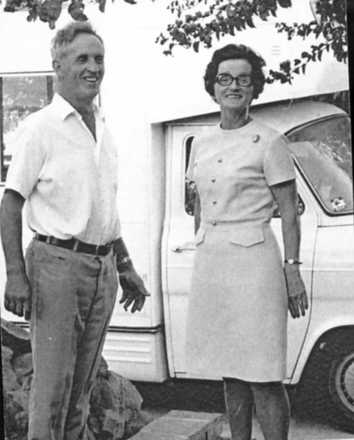 Wally and Ruby Ware (Nee Toy) in Capetown 1975, standing beside their camper van. - This image may be subject to copyright