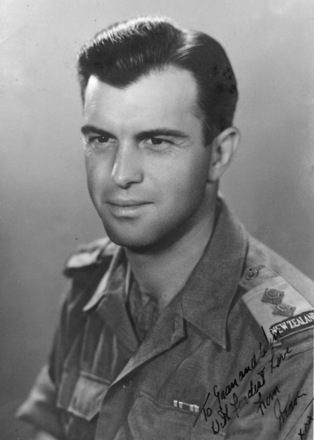 """Maxim Marsh portrait in uniform c. 1944-45, photograph annotated """"To Gran and Win with fondest love from Max XXX"""" Studio photograph: Pall Mall Photo studio, 3 Malaka Farida Building as New Zealand Cl., Ground Floor No. 28 Cairo - This image may be subject to copyright"""