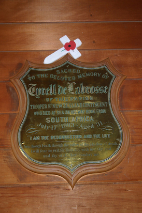 Memorial plaque, St Albans Church (Anglican), Whakapirau Road (photo Stuart Park, NZ Historic Places Trust September 2009) - No known copyright restrictions