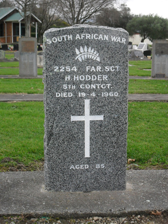 Headstone of Harold Hodder (2254) South African War, Clareville Cemetery, Carterton (image supplied by Sam Hodder) - No known copyright restrictions