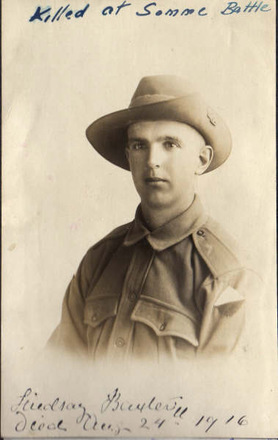 Portrait, WW1, from an album created by Alice Jane Baxter (nee Barton) who married Samuel, paternal uncle of Lindsay. Album with family in Canada - No known copyright restrictions