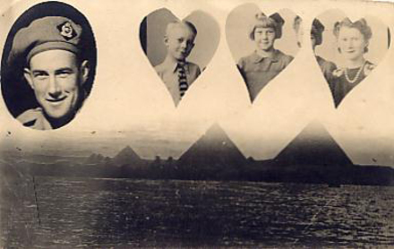 "Portrait, montage, soldier, his wife and children with pryamids and hearts. His daughter writes: ""The portrait was organised by my father while he was in Cairo. He had a family portrait of us taken in Onehunga before he left for overseas."" (collection of J A Martin 557298) - This image may be subject to copyright"
