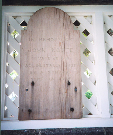 Headstone, wooden, Lych Gate, St John the Baptist (Anglican) Churchyard. This is probably the 2nd headstone for the grave. (photograph Paul Baker 2008) - No known copyright restrictions