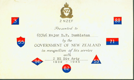 Certificate of Presentation ... in recognition of his service ...: [of the official history book 2 NZ Divisional Artillery] to Major Dumbleton by NZ Government - This image may be subject to copyright