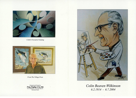 Funeral sheet (cover), portrait and examples of Colin Wilkinson's art work - This image may be subject to copyright