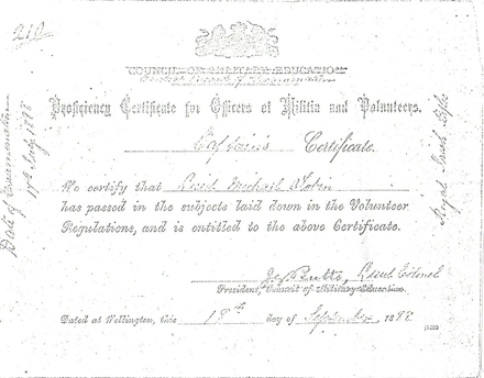 Proficiency certificate for Officers of Militia and and Volunteers - No known copyright restrictions