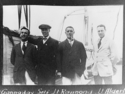 Group, Left to right Philip Gannaway, self, Marcus Gage Raymond, Aldert on deck Demosthenes 1916, kindly provided by the Navy Museum (Copyright © Royal New Zealand Navy Museum. Photo number ABX 0037 SS Demosthenes 1916. All enquiries for use: https://forms.nzdf.mil.nz/navy/museum/contactform.asp )