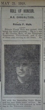 Portrait, Casualty Notice The Star, 21 May 1918 - No known copyright restrictions