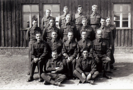 Group, Prisoners of War, Stalag VIIB, Howard Charles Baker (1202) 3rd row from front, 2nd from left. (photo provided by family) - This image may be subject to copyright
