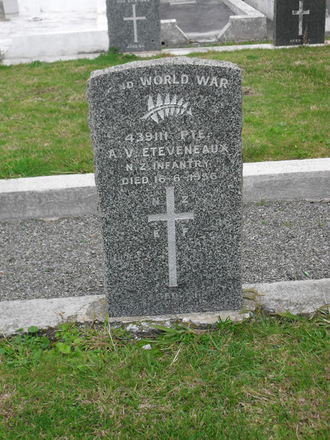 Headstone, AV Eteveneaux (43911), Featherston Cemetery, (image supplied by Sam Hodder) - This image may be subject to copyright