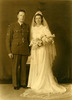Wedding, WW2 Patrick Morrison in uniform and his bride Alice. Studio: Alan Blakely, Auckland, NZ - This image may be subject to copyright