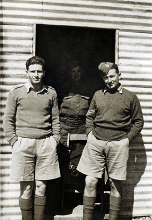 Portrait of Alan McElwain (right) with unknown (middle) and Lt. Hirsch (left) in Syria 1942, provided by S. Harris 2012. - This image may be subject to copyright