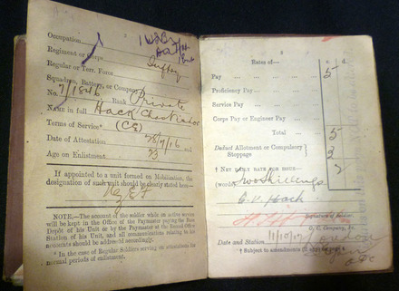 Pay book of C.V. Hack - No known copyright restrictions