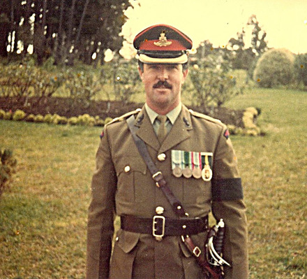 Portrait in 1983 and image of medals provided by Kerry Lee 2012. - This image may be subject to copyright