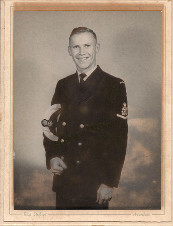 Portrait of Ken Shankland in uniform provided by John Ross. - This image may be subject to copyright