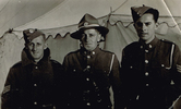 Group, WW2, 3 soldiers standing in front of a tent left to right Len Bergman (49726), Charlie Clark and Charles Levin (630221) (kindly provided by the Levin family) - This image may be subject to copyright