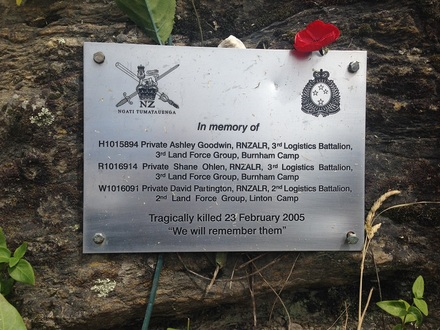 "Memorial plaque dedicated to Privates Goodwin, Ohlen and Partington at the Roaring Meg Lookout Veterans Memorial, Gibbston, Central Otago. Inscription: 'We will remember them"". Photograph P. Lascelles, December 2013. - This image may be subject to copyright"