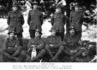 Group (WW1)1914-18 War. Back row l-r: Bob Shanahan; Partridge; J. Deveney; unknown. Front row l-r Not known; Bert Hannah; A. Wray; Reg Hancock, soldiers from Bombay, South Auckland prior to leaving for War. - No known copyright restrictions