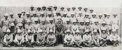 Group photo, WW1 Canterbury Maori Contingent, William Johnson, he is in third row from the front, standing, 7th soldier from the right. He is directly to the left of the chap who has someone's hands resting on his shoulder. (photo kindly provided by Chris Cooke, 2008) - No known copyright restrictions