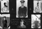 Page of portraits in a photograph album; wearing gas mask, 2 in formal uniform, in dust coat on deck - This image may be subject to copyright