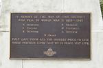 Matakana War Memorial, detail WW2 plaque (photo John Halpin 2011) - CC BY John Halpin