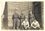 New Zealand Reception Centre, 1942. Group 5 airmen standing outside hut, Morley back row, far left - This image may be subject to copyright