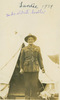 """Sid's brother, standing outside tent; medal ribbons on uniform, annotated """"Tardie 1939, Sid's eldest brother"""" - This image may be subject to copyright"""