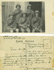 Group, WW1, 5 soldiers who shared the same tent at Zeitoun Camp, studio photograph August 1915, soldiers wearing pith helmets, bandoliers, holding canes. message on back: Zeitoun Camp, Egypt Aug[ust] 22 [19]15. Dear mother, The PC represents my tentmates & myself in full dress Egyptian. For the others we made ourselves a little more conforatbale by putting off coats & thus showing identification discs. very best love to yourself & all at home. Always your affectionate son Archie. PS [2/1509] - No known copyright restrictions