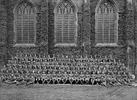 Group portrait of NCOs at training camp, photographed outside the chapel windows in Friar's Court at Queens College, Cambridge, UK July 1917. - No known copyright restrictions