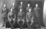 WW1 group soldiers, formal photograph, William Young, back row 2nd from right - No known copyright restrictions