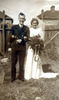 Joseph Gaunt and bride Edna on wedding day - This image may be subject to copyright