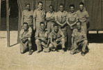 Group, WW2, C Company, ITB Papakura 1941, 10 soldiers in front of a tent (photo kept inside his pay book) - This image may be subject to copyright