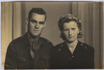 Wedding, WW2, Jackson Bray Penno (632826) in uniform and his wife Doreen Ruby, on their wedding day 3 March 1945 - This image may be subject to copyright