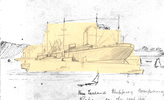 Drawing by Samuel Harris - New Zealand Shipping Company ship 'Kaipara' aground in Auckland harbour. - No known copyright restrictions