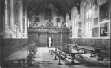 Postcard, Dining Hall, Wadham College, Oxford (front) the X mark on the seat and table, middle lefthand indicates Daniel's seat for meals. - No known copyright restrictions
