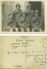Group, WW1, 5 soldiers who shared the same tent at Zeitoun Camp, studio photograph August 1915, soldiers wearing pith helmets, bandoliers, holding canes. Post card stamped. Message on back: Zeitoun Camp, Egypt Aug[ust] 22 [19]15. Kindest regards to you all at Springburn ... Gnr A. [Duff] [2/1509] - No known copyright restrictions