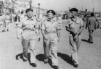 Group, WW2, 3 soldiers walking, Henry Campbell, Arnold Marion Roberts in Venice, Italy - This image may be subject to copyright