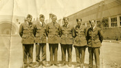 Portrait of 6 airmen outside soundshell at Rongotai, Wellington - 1940 Exhibition, Morrison 4th from left - This image may be subject to copyright