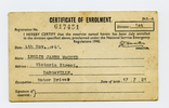 Certificate of Enrolment, WW2, Registration Number 617451 Leslie James McCoid (617451), a card folded, inside - This image may be subject to copyright