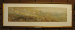 """Memorial bequest, a painting of """"ANZAC Cove, Gallipoli, 1915. Water colour by Sapper Moore-Jones... in memory of Eric H. Astley (4/4A), Mt Albert Public Library, Auckland, New Zealand - No known copyright restrictions"""