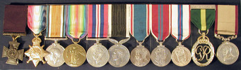 Medal group, Cyril Bassett. Auckland War Memorial Museum. Front (obverse). (Image Number N2548-N2558-a) - No known copyright restrictions